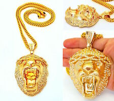 "14K GOLD FILLED 6mm 36"" STAINLESS STEEL FRANCO CHAIN LION HEAD PENDANT NECKLACE"