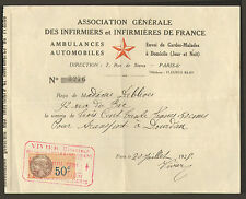 PARIS ASSOCIATION INFIRMIERS DE FRANCE MME DE BLIVES VIVIER DIRECTEUR RECU 1928