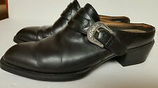 Womens 7.5 B ARIAT Black with buckle Leather Slide Mule Ankle Boots Clogs