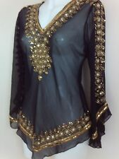 WOMENS GOLD SEQUINS BLOUSE BLACK SHIRTS WEDDING TOPS NIGHT PARTY CAFTAN TOPS UK