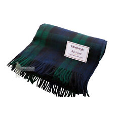 EDINBURGH - PURE WOOL SCOTTISH TARTAN RUG / BLANKET / THROW - BLACK WATCH