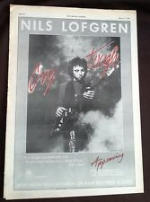 NILS LOFGREN Cry Tough red ink 1976 UK Poster size Press ADVERT 16x12 inches