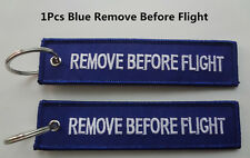 SHAC 1Pcs Blue Remove Before Flight Tag Zipper Pull Keyring Embroidery Keychain