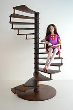 Spiral staircase Stair 1:6 Barbie FR Furniture for Doll Handmade wood HQ Diorama