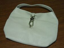 Dooney & Bourke Pebble Leather White Hobo Handbag Logo Lock Closure Purse