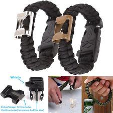 Survival Paracord Bracelet Flint Fire Starter Scraper Whistle Gear Bottle Opener