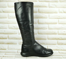 CAMPER Long High Knee Black All Leather Womens Boots Zipped Size 4 UK 37 EU