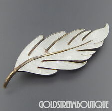 VINTAGE HROAR PRYDZ NORWAY WHITE GUILLOCHE ENAMEL LARGE LEAF BROOCH PIN #06503