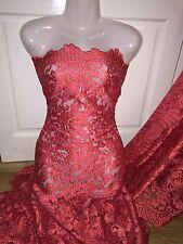 """1 M di colore rosso smerlato in pizzo da sposa Embroided Tessuto Netto... 52"""" Wide"""