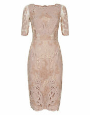 Monsoon Lace Embroidered Greta Pencil Cocktail Bridesmaid Dress Nude Size UK 12