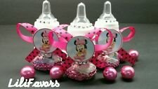 12 Fillable Baby Girl Shower Bottles Minnie Mouse Pink/Black Polka Party Favors