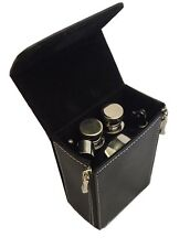 7 pcs Stainless Steel Travel Mini Bar Set in Leather Covered Hard Case