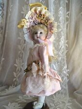 """SILK DRESS FOR 11"""" DOLL ANTIQUE LACE, PALE PINK"""