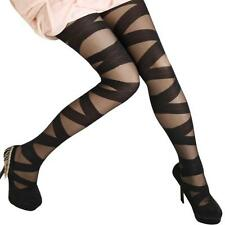 Womens Bandage Opaque Over Knee Thigh High Elastic Socks 2015