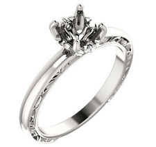 14k White Gold Setting Semi Mount Engagement Ring for 1ct Round Diamond Vintage