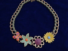 Lia Sophia Necklace Enamel Pastel Flower & Butterfly Matte Gold Tone Chain