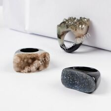 Similar 1Pcs Natural Black Agate Druzy Geode Ring Fashion Jewelry AG0568