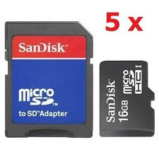Lot 5 SanDisk 16GB MicroSD Micro SDHC Flash Class 4 Memory Card with SD Adapter