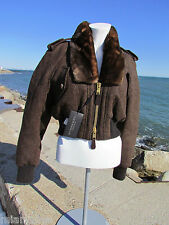 NEW BURBERRY PRORSUM 4/6/38 fur collar cropped bomber jacket coat $2995 brown oh