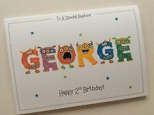 Personalised Cute Monster Name Boys Birthday Card (1st 2nd 3rd 4th 5th 6th 7th)