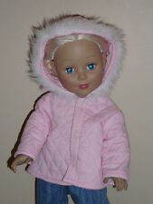 "Pink Quilted Winter Coat for 18"" Doll Clothes Grace American Girl"