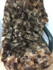 "54""x36"" GENUINE MUSKRAT Fur BLANKET CARPET THROWN PATCHWORK n208"