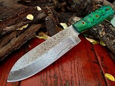Custom Ladder Pattern Damascus Drop Point Hunting Camp Knife Full Tang A-3