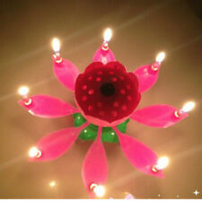 Pink Magical Flower Blossom Lotus Musical Candle Birthday Party Cake Decor Gift