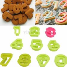10Pcs Numbers Cake Cookie Decorating Set Fondant Icing Cutter Sugarcraft Mold