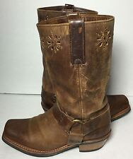 Frye 77700 Harness Flower Brown Leather Motorcycle Boots Women's Size 9