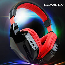 Black Red Computer Gaming Headphone Overear Headband Headset for PC Laptop 3.5mm