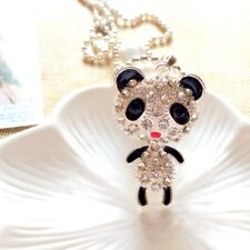 Fashion Silver Lovely Panda Sweater chain Charm Long necklace Pendants DL664