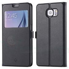 Custodia Fashion cover stand S-View NERA p Samsung Galaxy S6 G920F case finestra