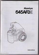 MAMIYA 645 AFD II BODY INSTRUCTION MANUAL (ORIGINAL PRINT JAPAN/not copies)