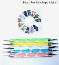 5 Two-Way Nail Art Dot Pens & 1 Wheel 12-Color Rhinestones Gems Glitter Manicure