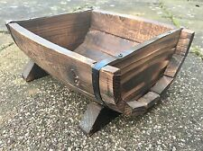 Wood Planter Trough Half Barrel Rustic Natural Wood Bespoke Plant Pot