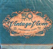 50th Birthday Vintage Vixen Paper Napkin Beverage Lady Woman Perfectly Aged 16