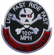 Ton Up Pirate Cafe Racer 59 Motorbike Sew Iron On Embroidered Shirt Badge Patch