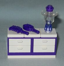 NEW LEGO PURPLE & WHITE CHEST OF DRAWERS, DRESSER WITH LAMP, BRUSH & COMB