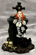 Celtic Cross Vampiress With Chalice of Blood Succubus Cemetery Vampire Figurine