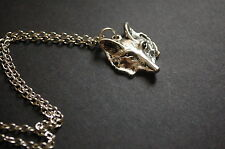 silver tone fox face necklace vintage kitsch