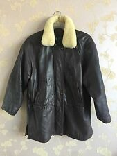 Lakeland Leather Women's Coat Jacket Dark Brown Vintage Sheepskin Size 12