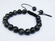 Black Men's beaded bracelet all 10mm Drawbench Glass Beads