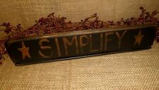 PRIMITIVE WOOD SHELF SITTER SIGN SIMPLIFY STAR DISTRESSED COUNTRY HOME DECOR