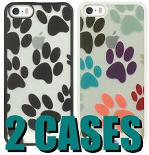 For iPhone SE 5S *2 CASES* HARD SKIN CASE COVER 1 BLACK + 1 WHITE DOG PUPPY PAWS
