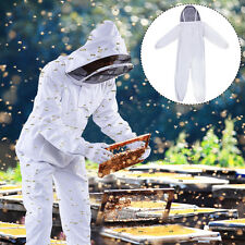 New Professional Cotton Full Body Beekeeping Bee Keeping Suit w/ Veil Hood