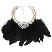 ZARA ELEGANT BLACK FEATHERS CLEAR STONES COLLAR NECKLACE - NEW