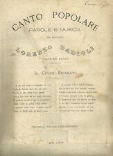 Il Cuore Ricamato Antico Spartito per Canto e Pianoforte di Lorenzo Badioli 1880