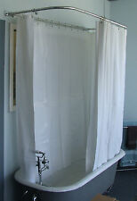 Heavy Duty Extra Wide Shower curtain For Clawfoot Tub/White with Magnets 180x70