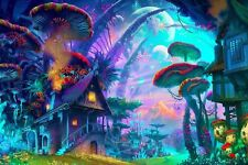 drawing nature psychedelic poster colorful house mushroom planet Fantasy art X